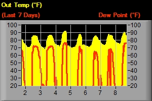 Temp & Dew Point - Last 7 Days
